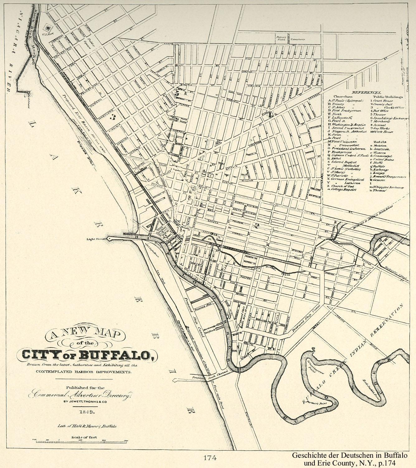 Buffalo, New York, map, 1849