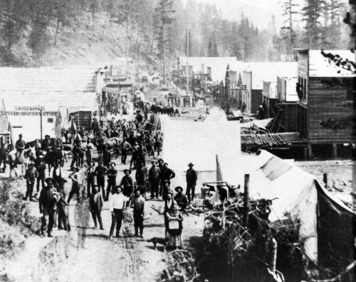 Sarah Campbell in Foreground, Deadwood, Dakota Territory