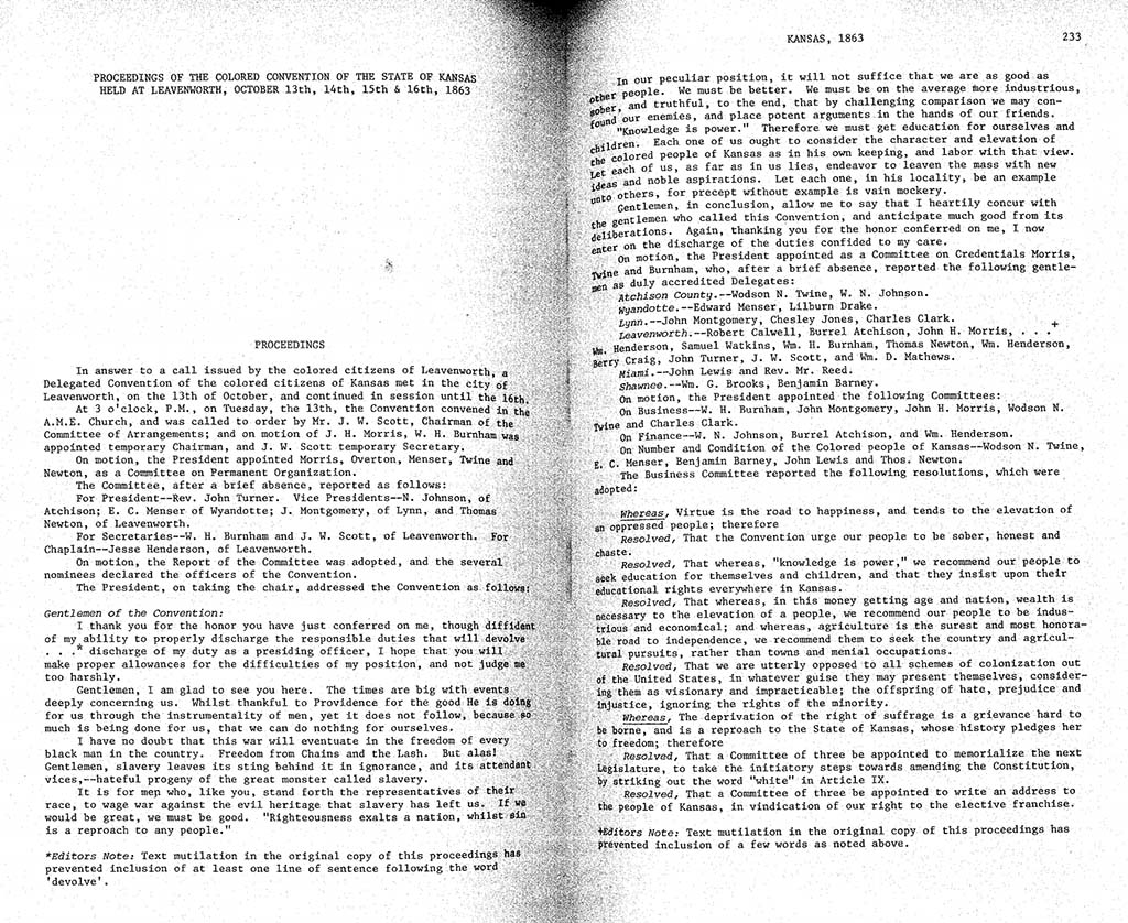 Colored Convention of Kansas State proceedings, Levenworth, October 13-16, 1863