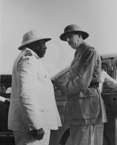 Felix Eboue Greets Charles De Galle on his Visit to Chad, 1940