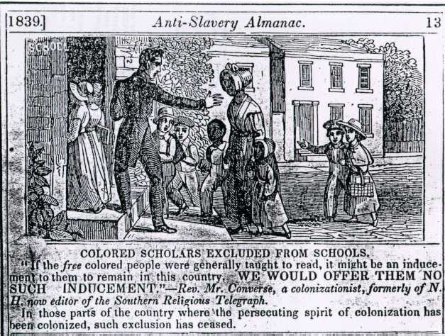 Excluded from school, Anti-Slavery Almanac, 1839