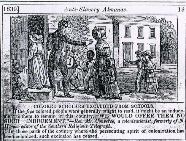 Excluded from school, Anti-Slavery Almanac, 1839