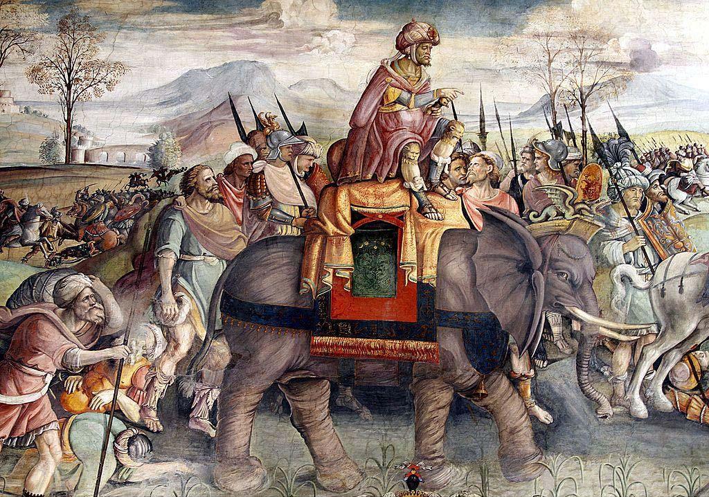 Hannibal Crossing the Alps, fresco by Jacopo Ripanda