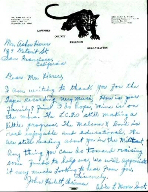 Letter on Lowndes County Freedom Organization Stationary, ca. 1966