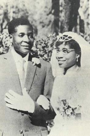Robert Mugabe and Bride Sally Benda, 1951
