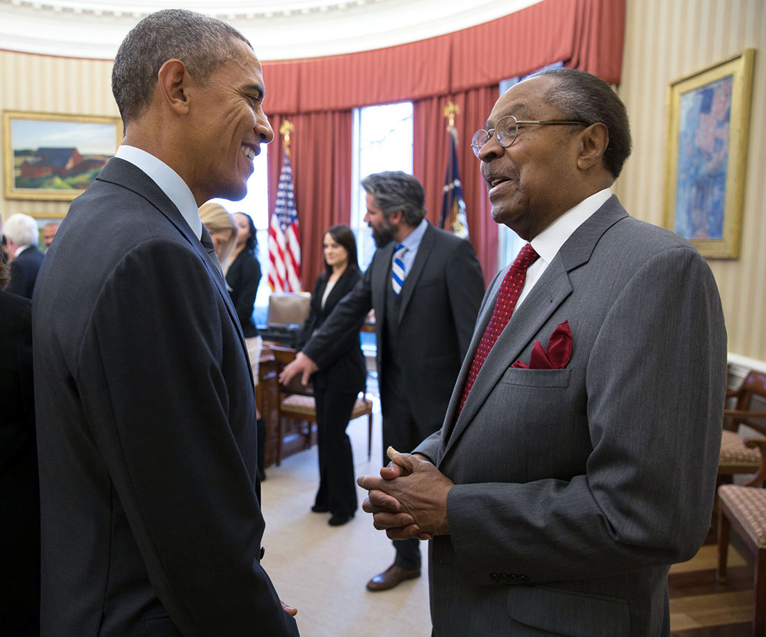 President Barack Obama and Clarence Jones (right), Oval Office, Feb. 2, 2015