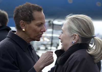 Ambassador Betty Eileen King Greeting Secretary of State Hilary Clinton at the Geneva Airport, December 6, 2001.