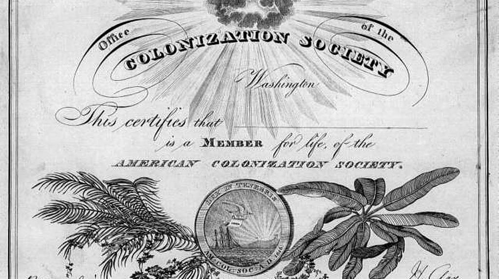 Membership Certificate, American Colonization Society