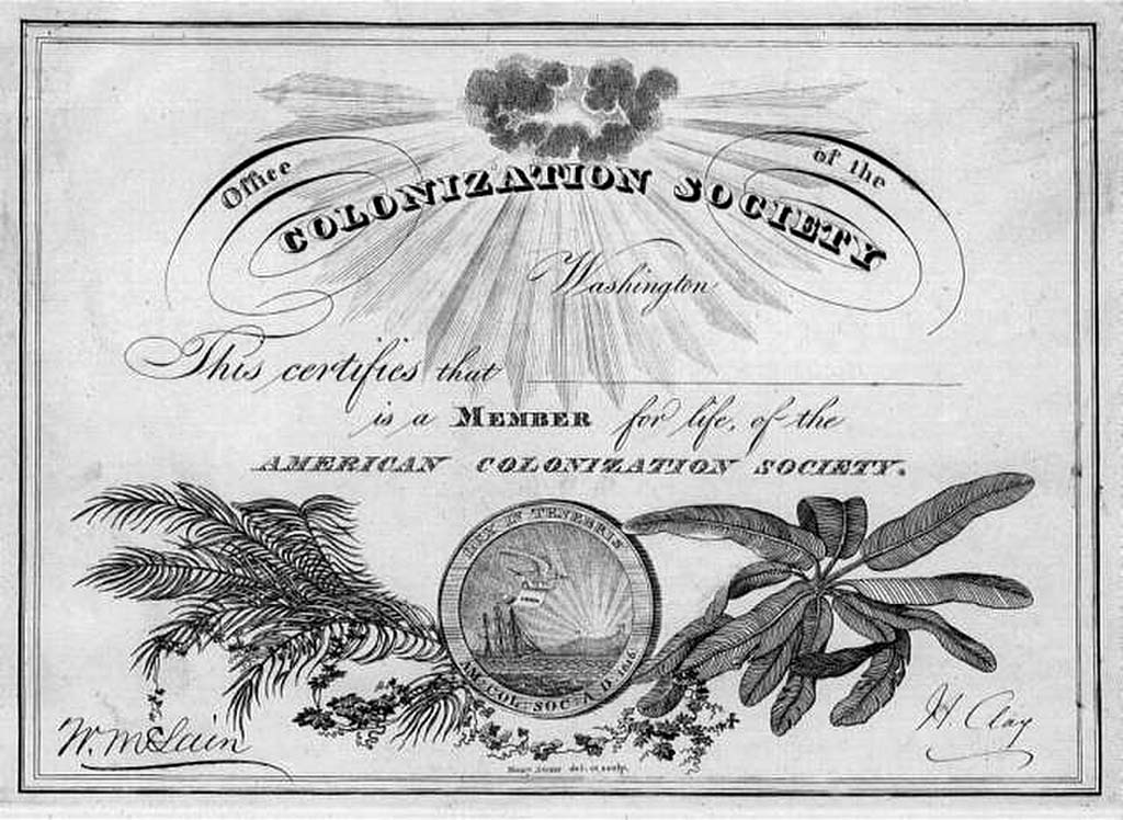 Membership Certificate, American Colonization Society
