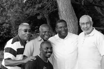 Genesis Group Members, 2012: Don Harwell, Eugene Orr, Eddie Gist (kneeling), Orin Howell, and Darius Gray