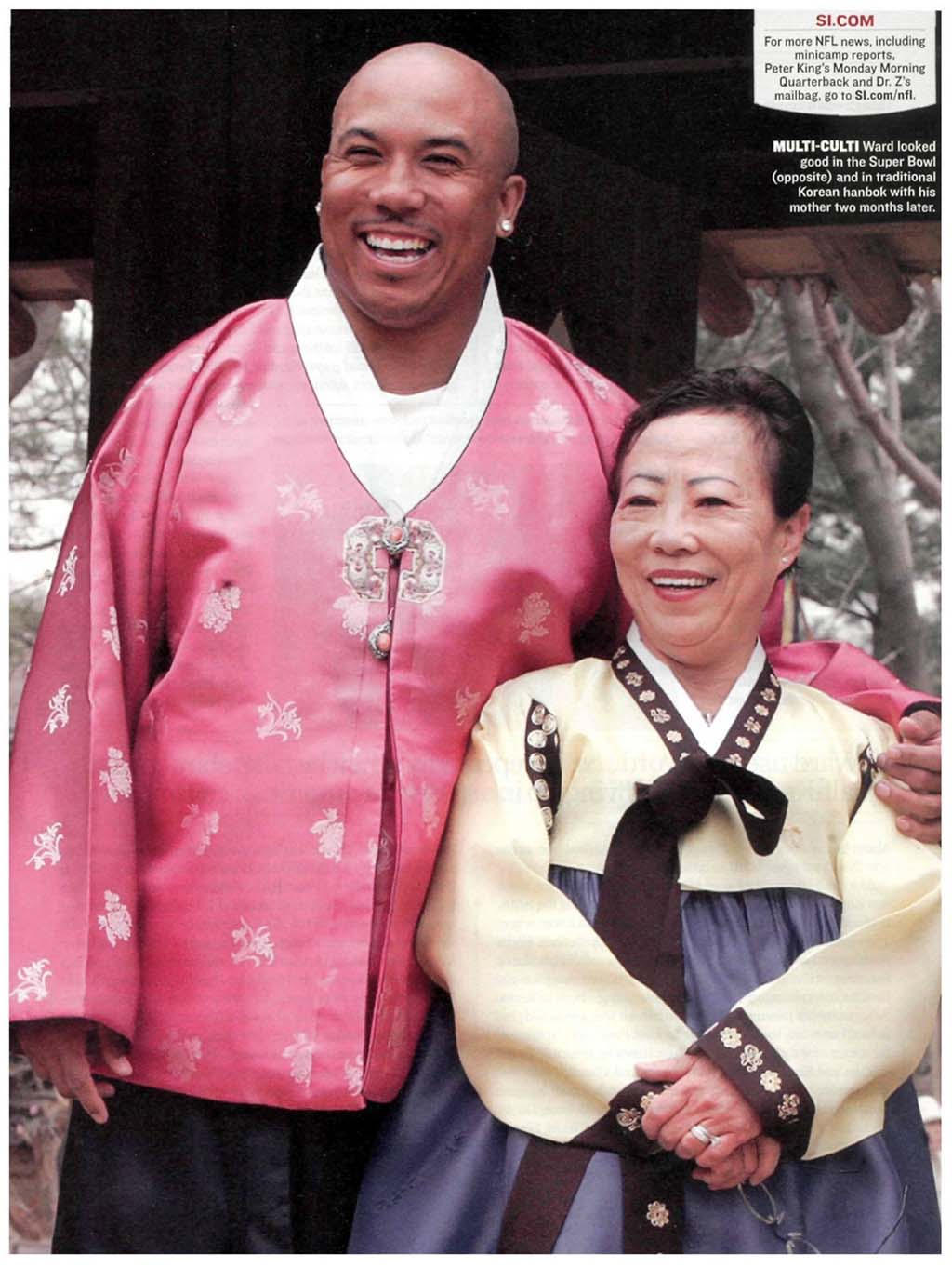 Hines Ward with his mother, Young He on a Visit to South Korea, 2006