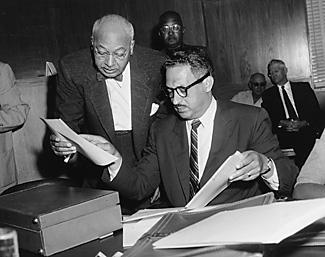 Ulysses Simpson Tate (left) with Thurgood Marshall