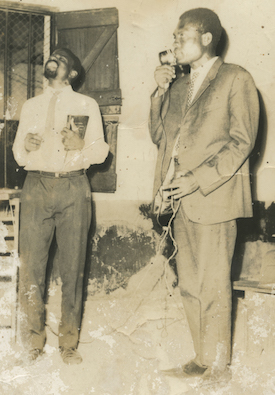 William Johnson and Abraham Mensah at the Microphone, 1965, Accra, Ghana, ca. 1965
