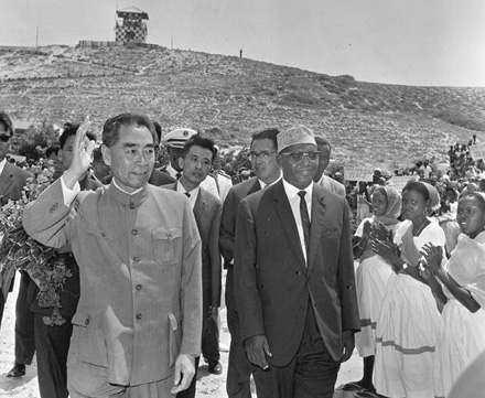 Enlai with Unidentified African Leader, 1963