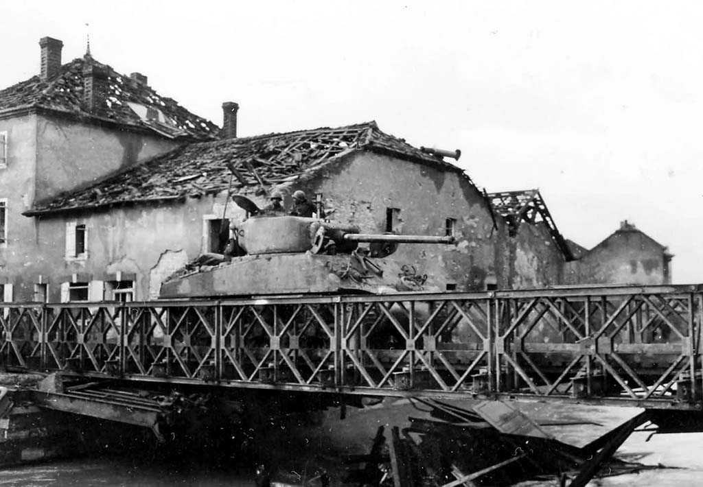 Able Company, 761st Tank Battalion Crossing the Seille River in France, Nov. 9, 1944