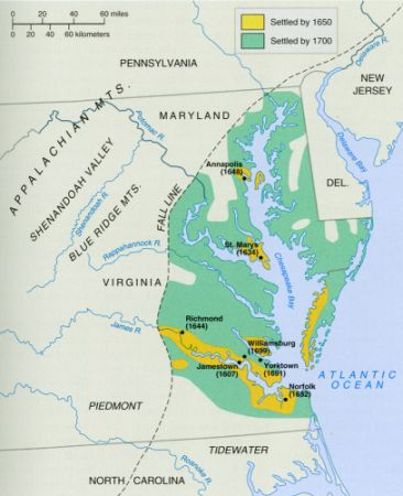 Anthony Johnson's Virginia and Maryland: map of colonia settlement by 1700