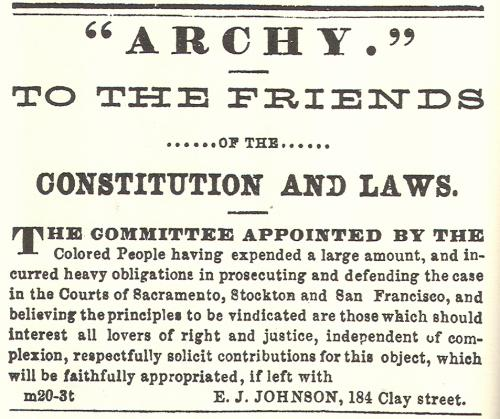 Newspaper advertisement appealing to people who are friends of the Constitution and Laws