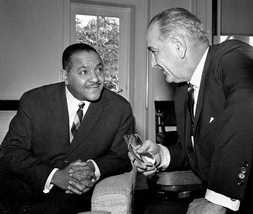 Carl Rowan with President Lyndon B. Johnson