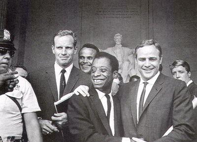 Charlton Heston, Harry Belafonte, James Baldwin and Marlon Brando, March on Washington