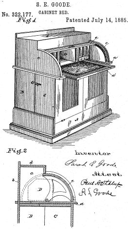Drawing of Sarah E. Goode's Cabinet Bed