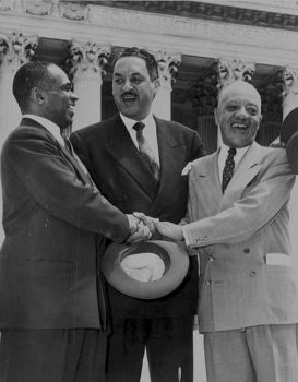 George E.C. Hayes, Thurgood Marshall, and James Nabrit Congratulating Each Other After Winning the Brown Case
