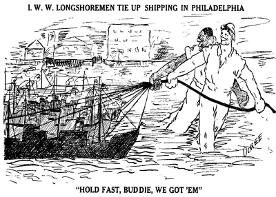IWW Cartoon on the 1920 Philadelphia Dockworkers Strike