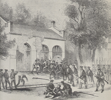 U.S. Marines Attacking John Brown and His Men at Harper's Ferry, 1859