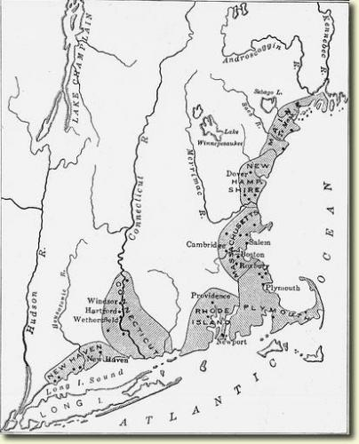 Settled Areas in New England in 1640 around the time Dorcas joined First Church at Dorchester