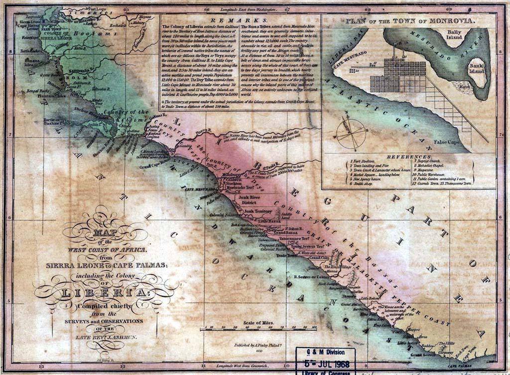 Americo-Liberian settlements, 1874