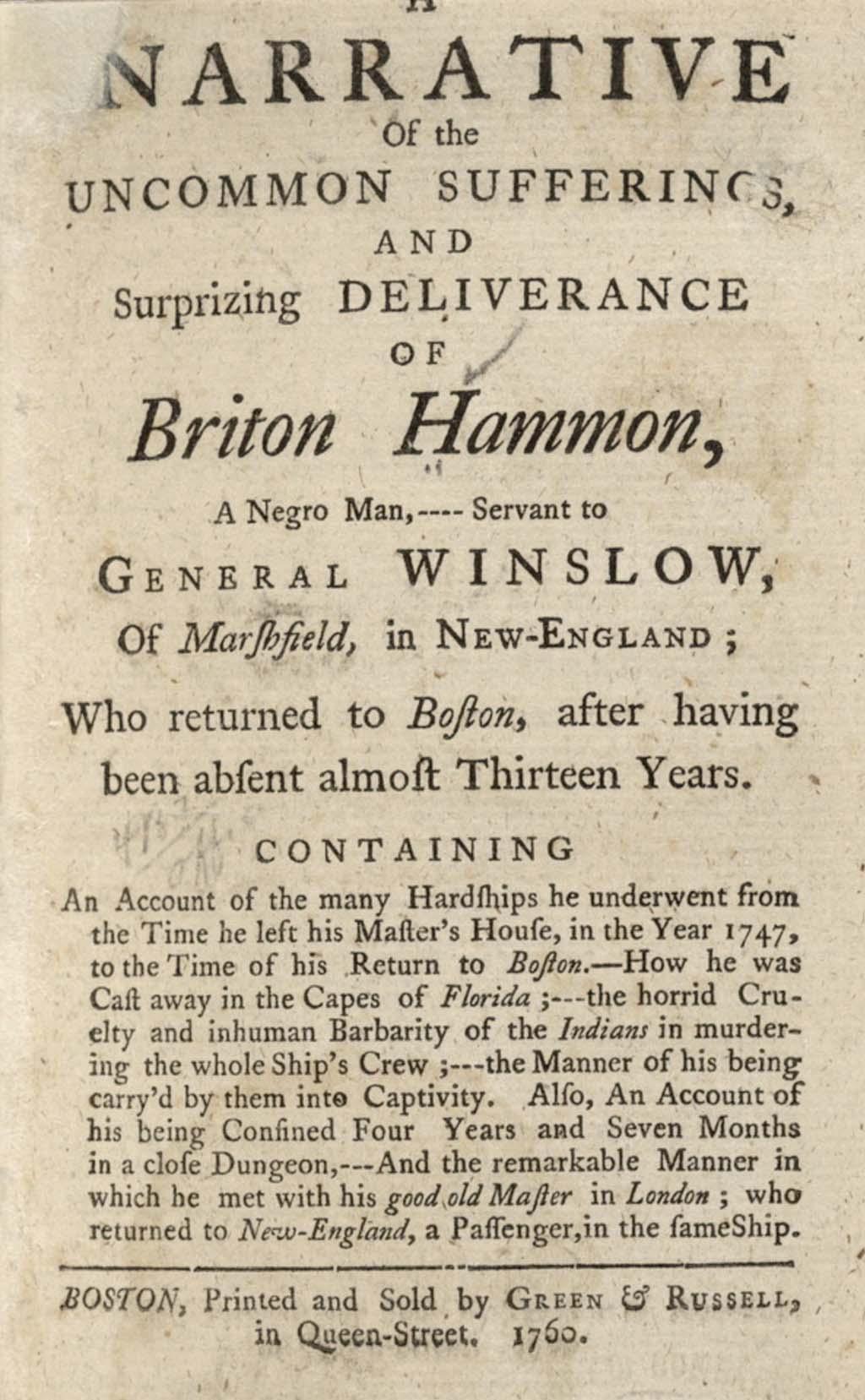 Opening Page of Briton Hammon Narrative