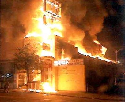 Building on fire, Rodney King Riot