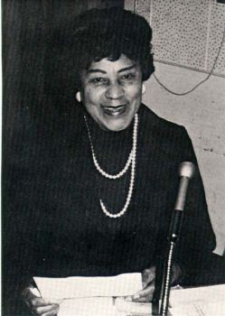 "Tarea Hall Pittman Broadcasting her ""Negroes in the News"" Program from Oakland Radio Station, KDIA, May 1973"