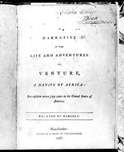 Venture Smith Book Title Page, 1798