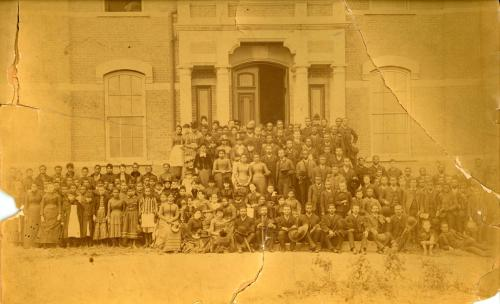 Fisk University Students (including W.E.B. DuBois) and Faculty in Front of Jubilee Hall, 1887