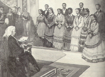 Fisk Jubilee Singers Performing before Queen Victoria of Great Britain, 1873