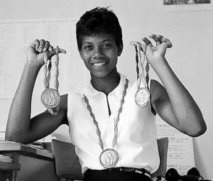 Wilma Rudolph with Her Olympic Gold Medals