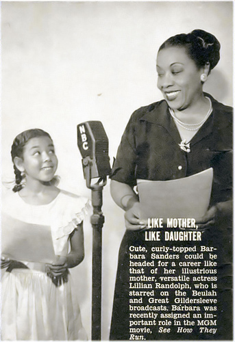 Lillian Randolph and Daughter, Barbara Sanders, 1952
