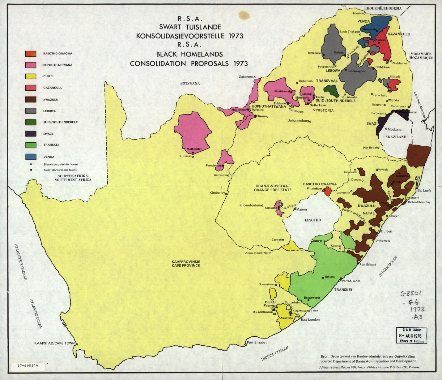 R.S.A. black homelands consolidation proposals, 1973