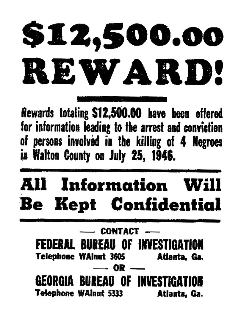 The Moore's Ford Lynching (July 1946) •